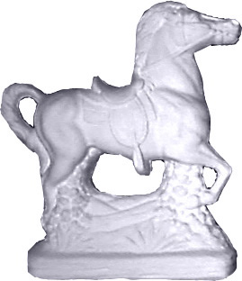 Horse with Saddle Plaster Statue