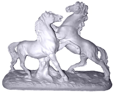 Fighting Stallions Plaster Statue