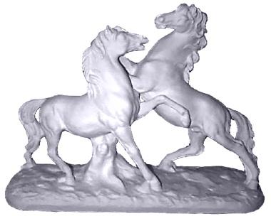 Fighting Stallions Plaster Statue