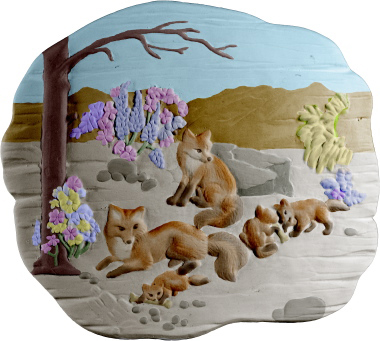 Woodland Animal Fox Plaster Plaque