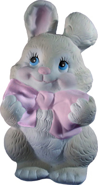 Bunny with Bow Plaster Statue