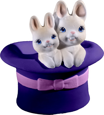 Bunnies in Hat Plaster Statue