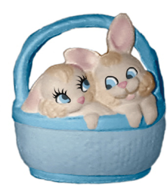 Two Bunnies in Basket Plaster Statue