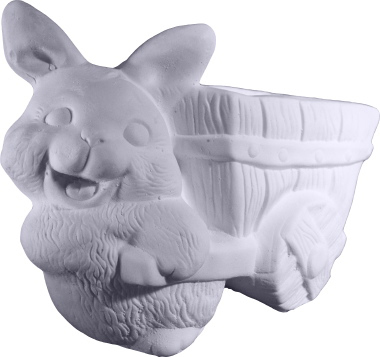 Bunny with Cart Bowl Plaster Vase