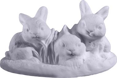 Three Rabbits on Grass Plaster Statue