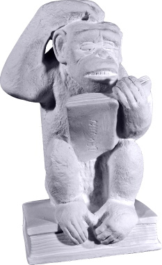 Monkey Reading Plaster Statue