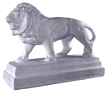 Lion on Base Plaster Statue