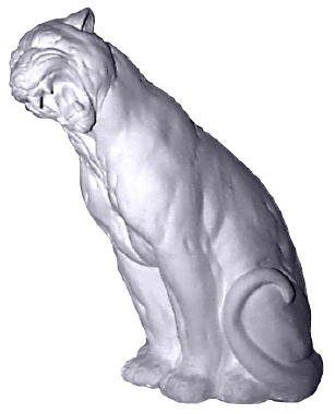 Roaring Panther with Head Tilted Plaster Statue