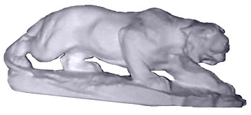 Panther on Base Plaster Statue
