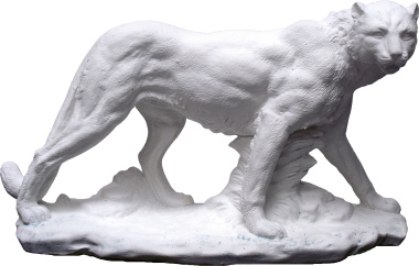 Cougar on Base Plaster Statue