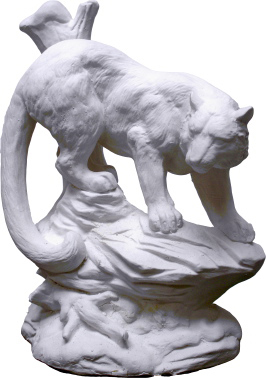 Cougar on Rocks Plaster Statue