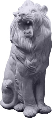Entrance Lion Plaster Statue Left