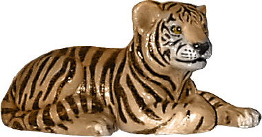 Tiger Cub Lying Down Plaster Statue