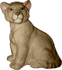 Lion Cub Seated Plaster Statue
