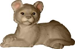 Lion Cub Lying Down Plaster Statue Small