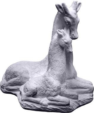 Giraffe Family Plaster Statue