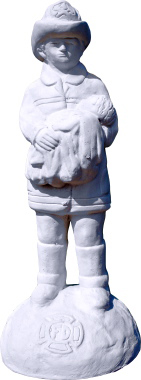 Fireman with Baby Plaster Statue