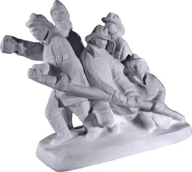 Bravest Firemen Plaster Statue