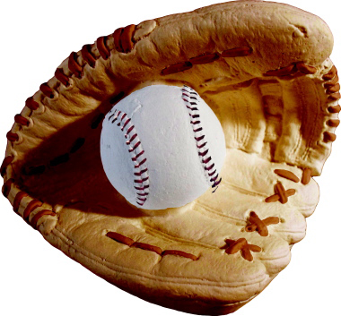 Baseball Glove and Ball Plaster Statue