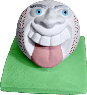 Crazy Baseball on base Plaster Statue