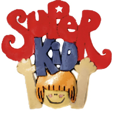 Kid with Super Kid Sign Plaster Plaque