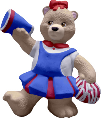 Cheerleader Bear with megaphone Plaster Statue