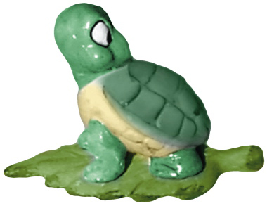 Turtle on Leaf Looking Back Plaster Statue
