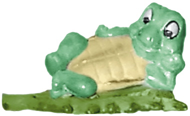 Turtle Lying on Leaf Plaster Statue