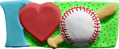 I Love Baseball Plaster Plaque