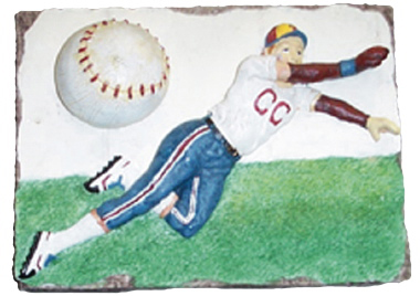 Baseball Players Plaster Plaque