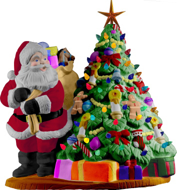 Santa Next to Tree Plaster Statue Light Up
