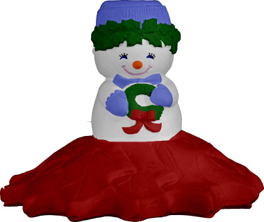 Snow girl on Poinsettia Plaster Candleholder