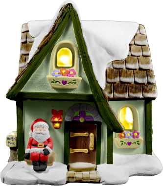 Village Santas Workshop Plaster Lightup Building