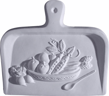 Dust Pan with Veggies A Plaster Plaque