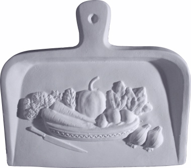 Dust Pan with Veggies B Plaster Plaque