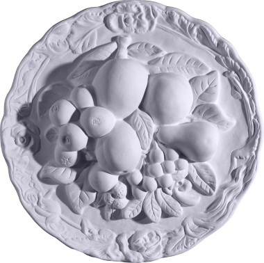 Round Fruit Still Life Plaster Plaque Large