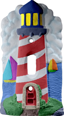 Lighthouse Plaster Light Switch Plate