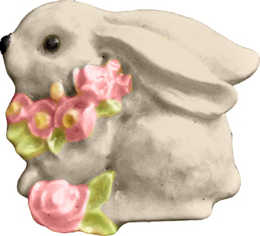 Bunny with Roses Plaster Jewelry Pin