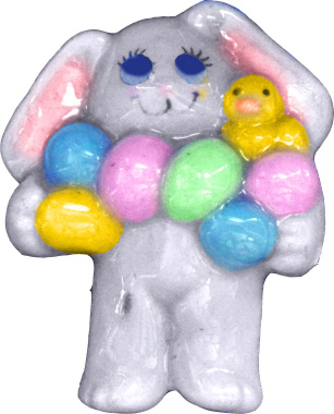 Bunny Carrying Eggs Plaster Jewelry Pin