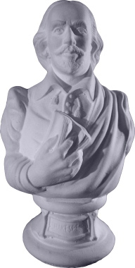 Shakespeare with Book Bust Plaster Statue