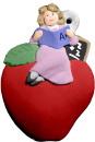 Teacher on Apple Unpainted Plaster Christmas Tree Ornament