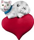 Cat on Heart Unpainted Plaster Ornament